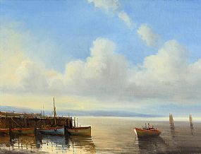 Norman J. McCaig, Cashel Pier, Connemara at Morgan O'Driscoll Art Auctions