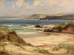 Frank McKelvey, Figures on the Beach, Culdaff, Co. Donegal at Morgan O'Driscoll Art Auctions