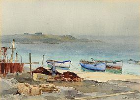 Frank Egginton, Mending the Nets, Dunseverick, North Antrim Coast at Morgan O'Driscoll Art Auctions