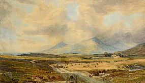 John Faulkner, Extensive Landscape with Harvest Scene at Morgan O'Driscoll Art Auctions