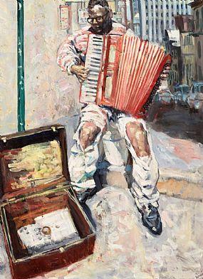 Hector McDonnell, Accordian Player, San Francisco at Morgan O'Driscoll Art Auctions