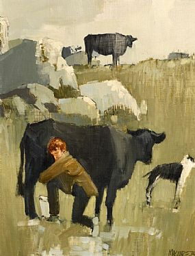 Cecil Maguire, Milking Time, Connemara (1973) at Morgan O'Driscoll Art Auctions