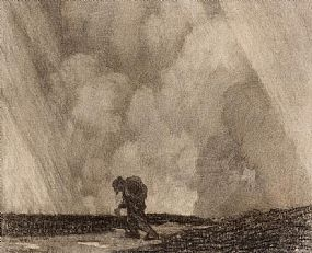Paul Henry, Man Crossing the Bog (1910-1919) at Morgan O'Driscoll Art Auctions