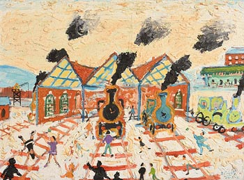 Simeon Stafford, The Train Station at Morgan O'Driscoll Art Auctions