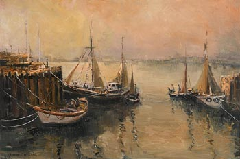 Norman J. McCaig, Trawlers South Pier, Bangor, Co. Down at Morgan O'Driscoll Art Auctions