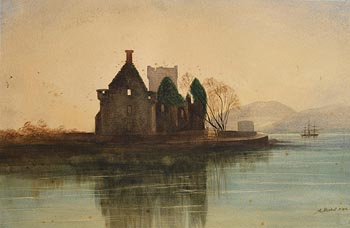 Andrew Nicholl, Castle Ruins and Tall Ship in the Bay at Morgan O'Driscoll Art Auctions