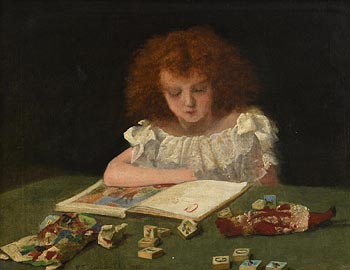 Richard Thomas Moynan, Girl with a Book and Toys (1893) at Morgan O'Driscoll Art Auctions