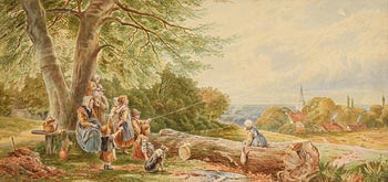 Attributed to Myles Birkett Foster, Picnic and Kite Flying at Morgan O'Driscoll Art Auctions