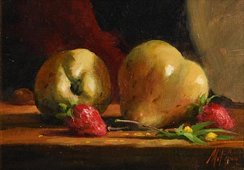 Mat Grogan, Still Life - Strawberries and Pears at Morgan O'Driscoll Art Auctions