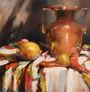 Lorraine Christie, Still Life - Copper Vase and Fruit at Morgan O'Driscoll Art Auctions