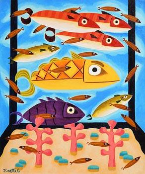 Graham Knuttel, Tropical Aquarium at Morgan O'Driscoll Art Auctions