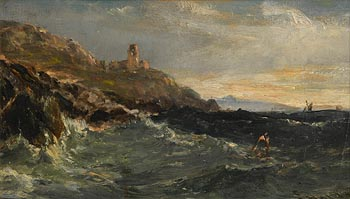Edwin Hayes, The Mumbles Lighthouse at Morgan O'Driscoll Art Auctions