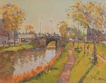 Liam Treacy, Evening Light, Grand Canal Dublin at Morgan O'Driscoll Art Auctions