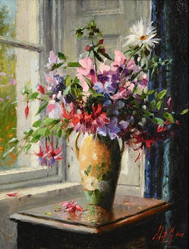 Mat Grogan, Wild Flowers with Yellow and Green Vase at Morgan O'Driscoll Art Auctions