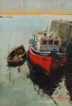 Mat Grogan, Roundstone Harbour, Connemara at Morgan O'Driscoll Art Auctions