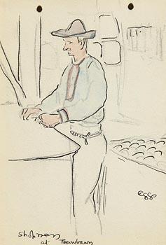 Jack Butler Yeats, Shop at Trawbawn Strand, Co. Sligo at Morgan O'Driscoll Art Auctions