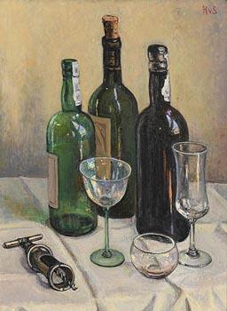Hilda Van Stockum, Still Life - Wine and Corkscrew at Morgan O'Driscoll Art Auctions