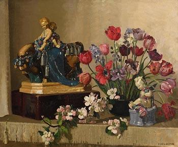 Herbert Davis, Still Life - Cherubs and Tulips at Morgan O'Driscoll Art Auctions