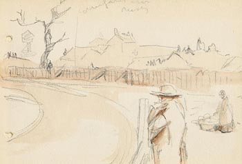 Jack Butler Yeats, Figures on Road to the Village at Morgan O'Driscoll Art Auctions