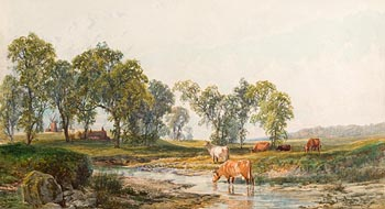 John Faulkner, Cattle Watering at a Stream at Morgan O'Driscoll Art Auctions
