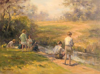 Frank McKelvey, Boys Fishing at Morgan O'Driscoll Art Auctions