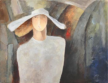 Margaret Egan, Hatted Lady at Morgan O'Driscoll Art Auctions