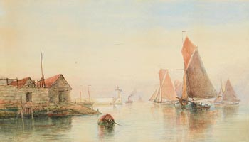 Alexander Williams, Moored in the Harbour (1890) at Morgan O'Driscoll Art Auctions