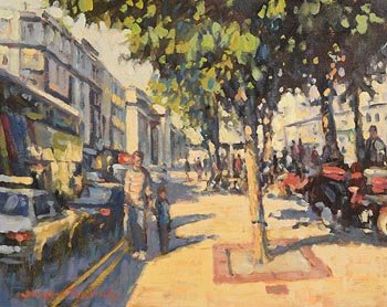 Norman Teeling, Pedestrians O'Connell Street, Dublin at Morgan O'Driscoll Art Auctions
