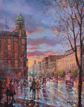 Gerry Glynn, Evening Shoppers, Chichester Street, Belfast (2016) at Morgan O'Driscoll Art Auctions