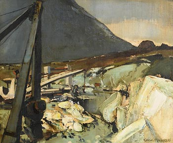 Cecil Maguire, Quarry Works, Connemara (1965) at Morgan O'Driscoll Art Auctions