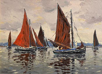 Ivan Sutton, Lowering the Main Sail, Becalmed Galway Hookers, Carraroe Bay, Co Galway at Morgan O'Driscoll Art Auctions