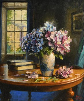 Mat Grogan, Blue and Pink Hydrangeas with Books at Morgan O'Driscoll Art Auctions