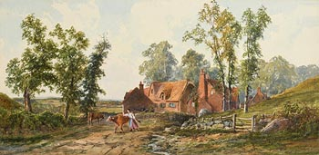 John Faulkner, Pastoral Scene with Cottages, Woman and Cattle at Morgan O'Driscoll Art Auctions