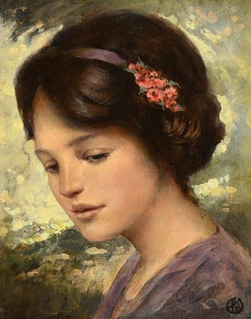 Ken Hamilton, Girl with a Floral Hair Band at Morgan O'Driscoll Art Auctions
