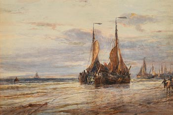 Edwin Hayes, Dutch Boats Ashore at Morgan O'Driscoll Art Auctions