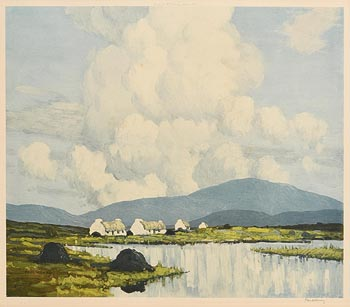 Paul Henry, Cottages by the Lake, Connemara at Morgan O'Driscoll Art Auctions