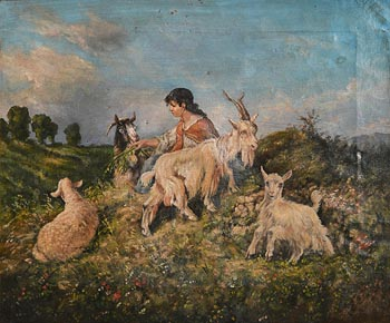Antonio Milone, Scenes of Rural Life with Goats and Pastorella in the Foreground at Morgan O'Driscoll Art Auctions