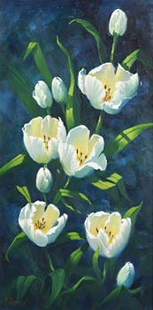Annemarie Bourke, White Tulips at Morgan O'Driscoll Art Auctions