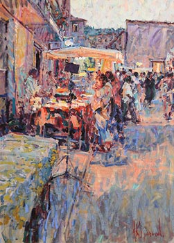 Arthur K. Maderson, The Night Market at Dusk at Morgan O'Driscoll Art Auctions