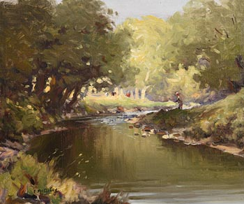 Charles J. McAuley, Fly Fishing at Morgan O'Driscoll Art Auctions