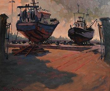 John Dinan, Boatyard, Howth at Morgan O'Driscoll Art Auctions