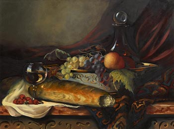 Ken Hamilton, Bread, Wine, Fruit and Decorative Bowl on a Ledge at Morgan O'Driscoll Art Auctions