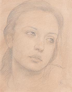 Ken Hamilton, Portrait of a Young Girl at Morgan O'Driscoll Art Auctions
