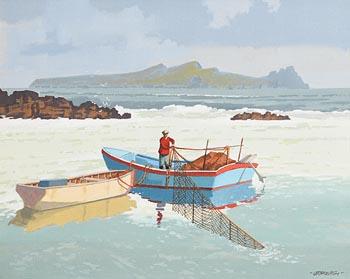 John Francis Skelton, The Last Haul and Great Blasket Island, Kerry at Morgan O'Driscoll Art Auctions