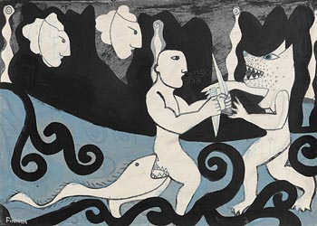 Martin Finnin, Ulster Cycle - Cuchulainn Fighting Morrigan the Shapeshifter at Morgan O'Driscoll Art Auctions