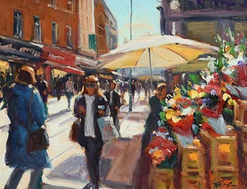 Norman Teeling, Flower Seller's Grafton Street at Morgan O'Driscoll Art Auctions