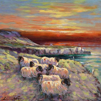 William Cunningham, Sheep Huddles by the Sea Shore at Morgan O'Driscoll Art Auctions