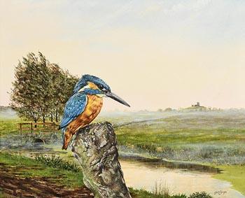 Steve Burgess, View Over Somerset Levels and Burrow Mump at Burrow Bridge at Morgan O'Driscoll Art Auctions