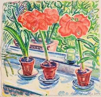 Michael Cullen, Flowerpots on Window Sill (2004) at Morgan O'Driscoll Art Auctions