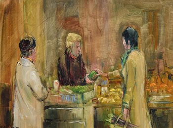 Robert Taylor Carson, The Fruit Stall (1974) at Morgan O'Driscoll Art Auctions